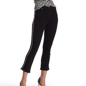 7 for all mankind stretch black white piped crops